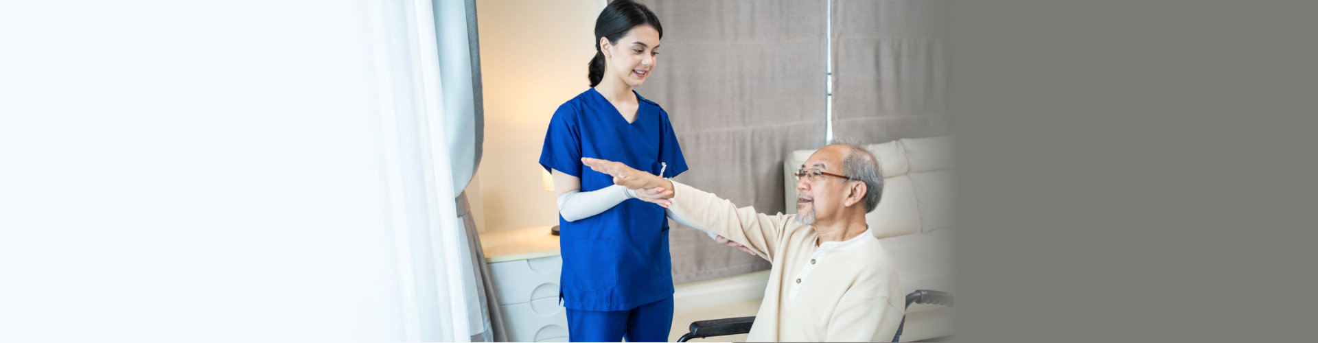 Asian young beautiful woman nurse carer at nursing home take care disable senior elderly man by serve physical therapy for older patient to exercise on wheelchair for health. Medical Insurance concept